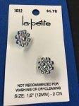 LaPetite Stem Button 1/2 (12MM) Silver Floral Plastic 2 PC
