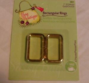 Notions Bag Botique Rectangular Rings 1 Gold Tone