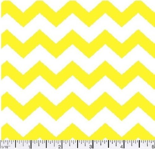 Fabric Cotton Remnant 30 x wof Chevron One half 1/2 inch Color 07 YELLOW 44/45'' 100% Cotton