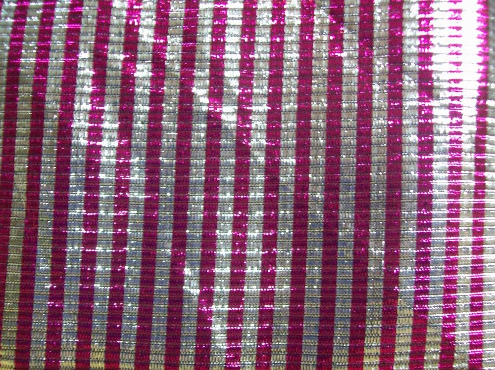 Fabric Fashion RAINWOOD FABRICS POLY PRINT FANCIES POLYESTER 45'' METALIC  PINK SILVER STRIPE