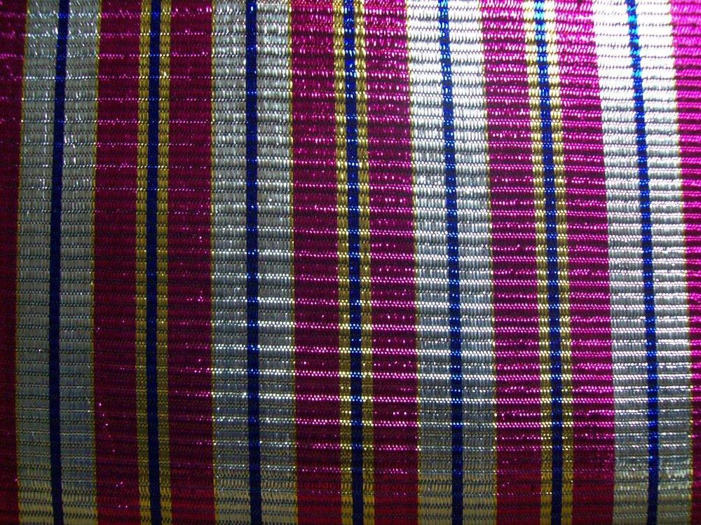 Fabric Cotton RAINWOOD FABRICS POLY PRINT FANCIES POLYESTER 45'' METALIC  PINK-BLU-SILVER -GOLD STRIPE