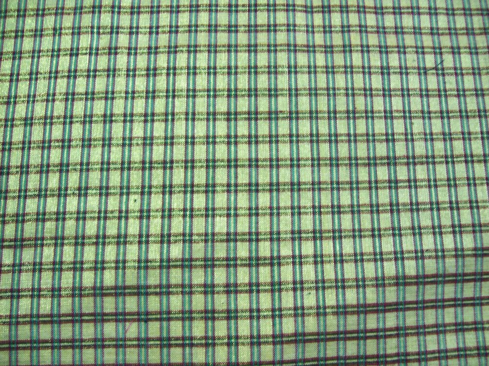 Fabric Fashion RAINWOOD FABRICS POLY PRINT FANCIES 60%Cotton 40% Nylon  45'' METALLIC  Green w/Brown Stripe