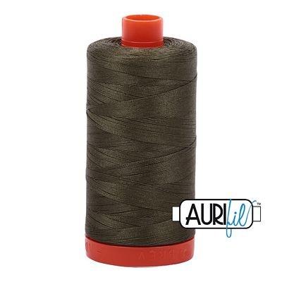 Aurifil Thread Cotton Mako 50wt - 1422 yrds/1300m-Very Dark Grass Green #2890