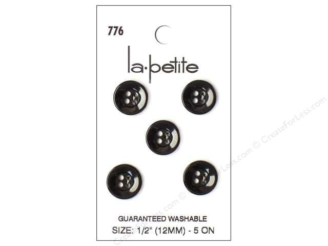 LaPetite 4 Hole Button 1/2 (12MM) Round Black 5 pc