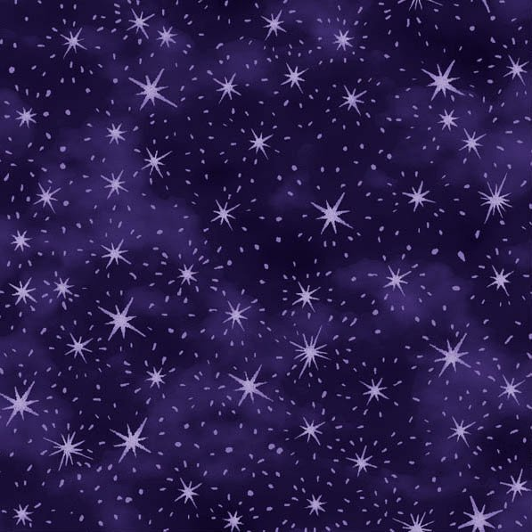 Fabric Cotton Paintbrush Studio by Judy Hansen Purple Stary Night