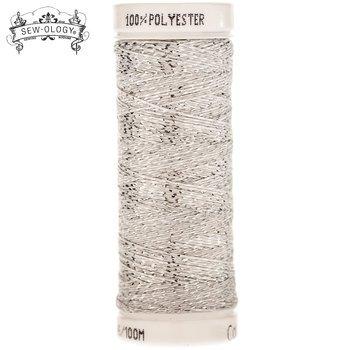 Sew-Ology 100% Poly Thread 110 yd/100m White & Silver Wrap #1890