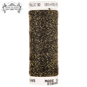 Sew-Ology Metallic Thread 165yds/150m Black & Gold #1895