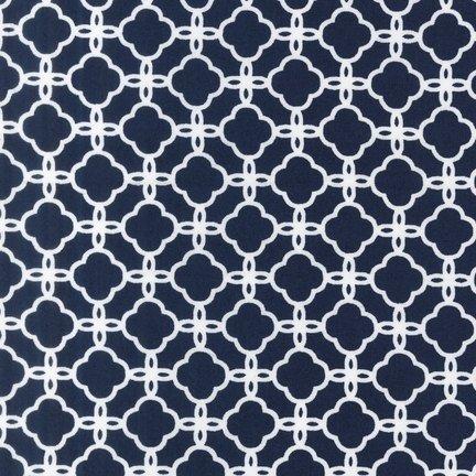 Fabric Cotton Pimatex Basics Lattice in Navy Robert Kaufman