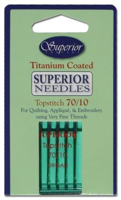 SUPERIOR Titanium-coated Topstitch Needles Size 70/10 (green Package)