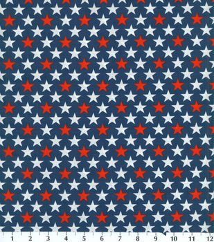 Fabric Cotton Patriotic Navy Background with Red and White Stars