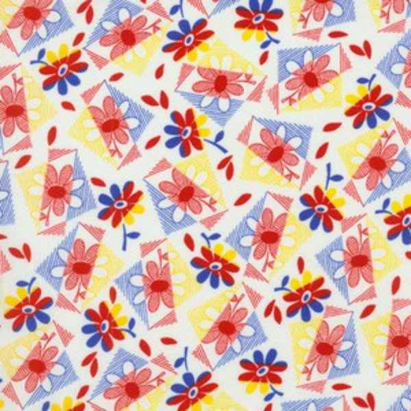 Fabric Cotton 1930's RJR Fabrics 100% Cotton-  Everything But The Kitchen Sink 2013 - 1578-01  44''/45'' red/blue geometric