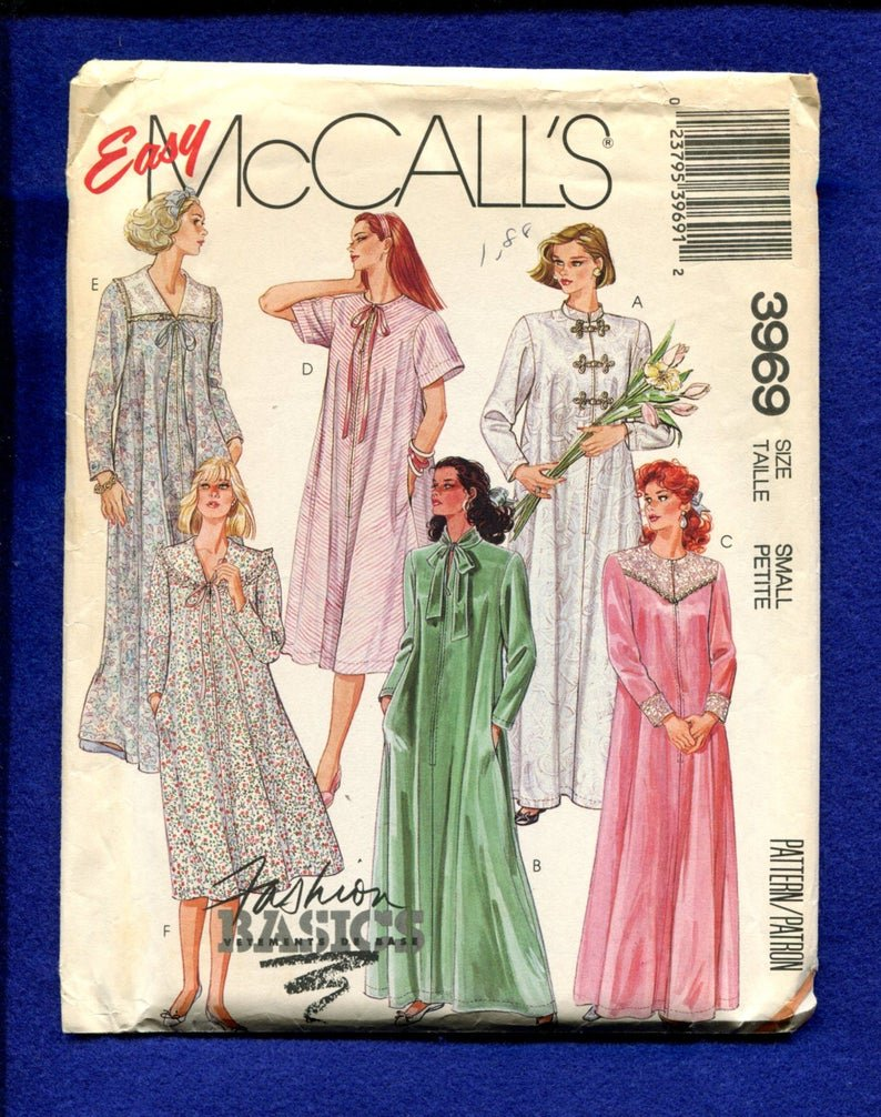 1988 McCalls  A-Line Zipper Front Caftans with Collar Variations 3969 Size Small Petite