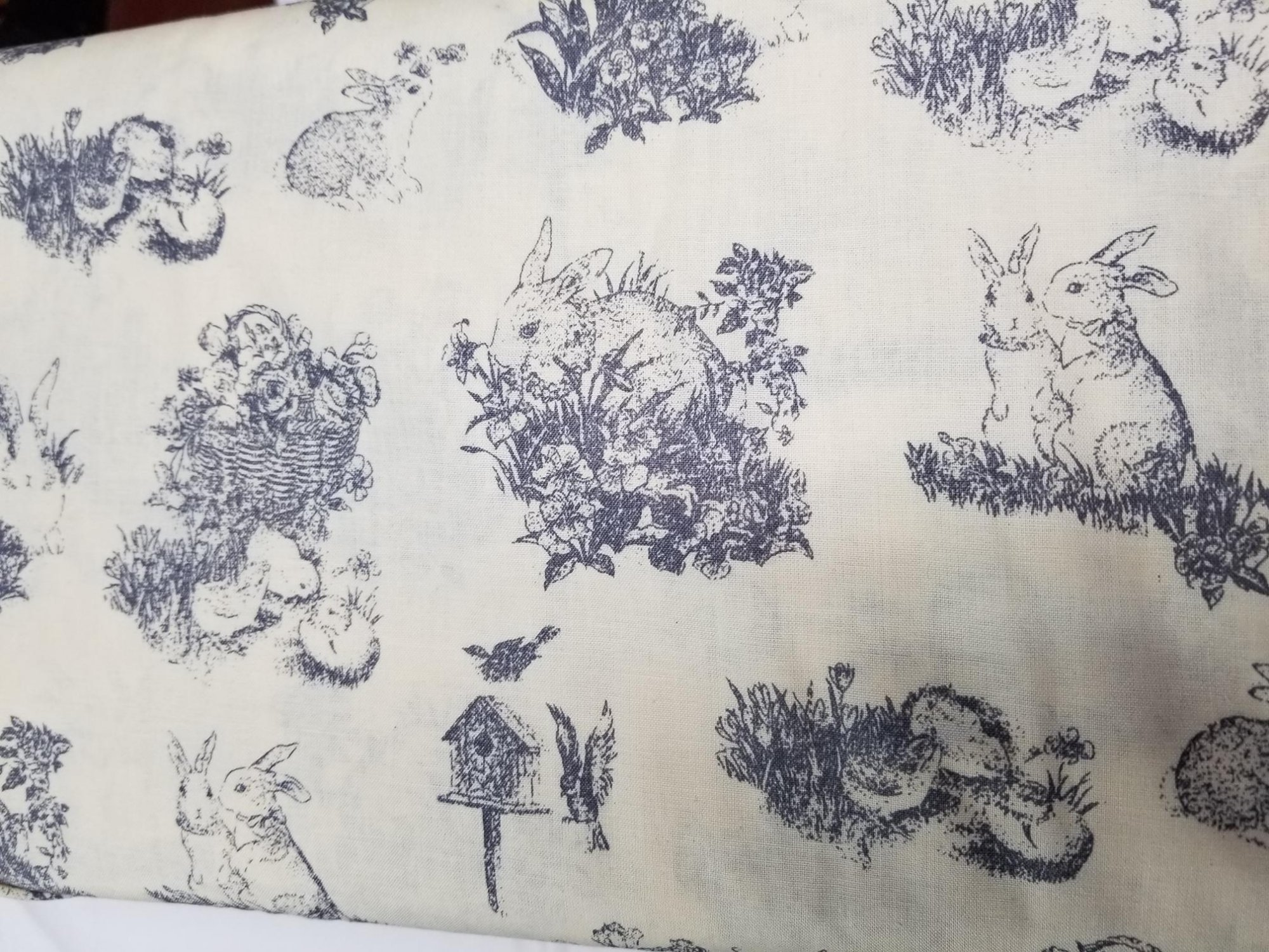 Fabric 100% Cotton Bunnies Grey with beige background
