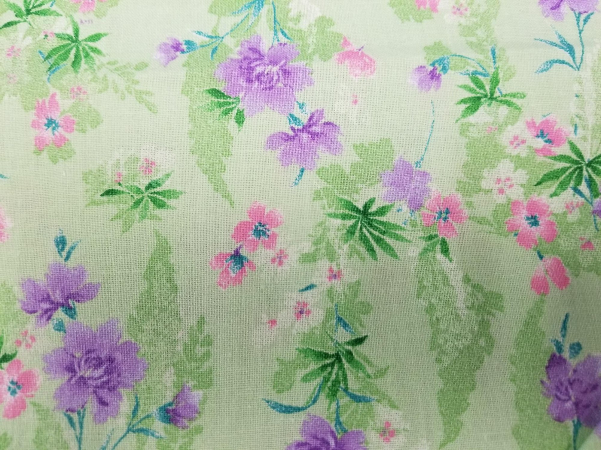 Fabric 100% Cotton Pink & Purple Flowers with Mint Green