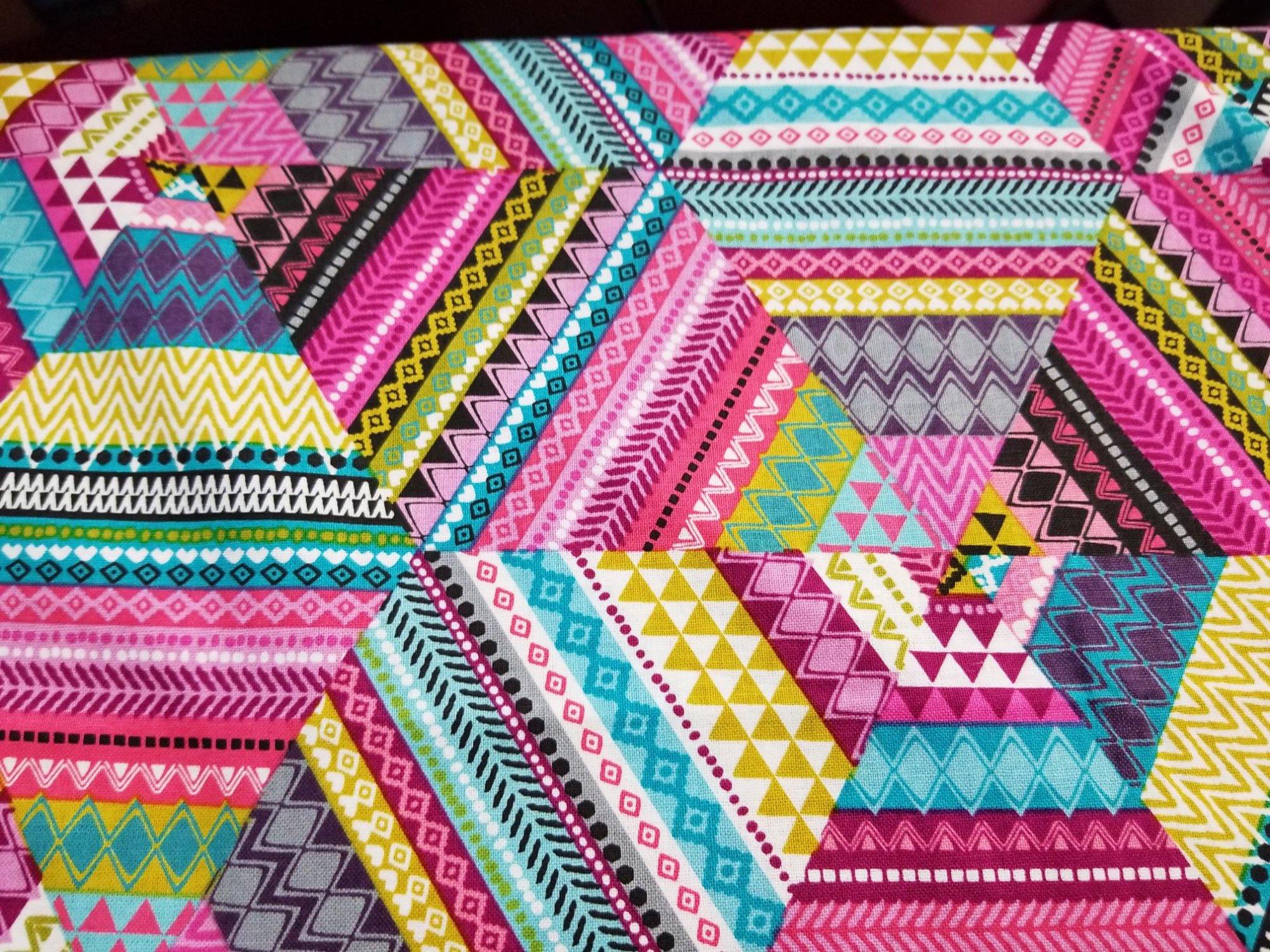 Fabric 100% Cotton Pink Patchwork Design