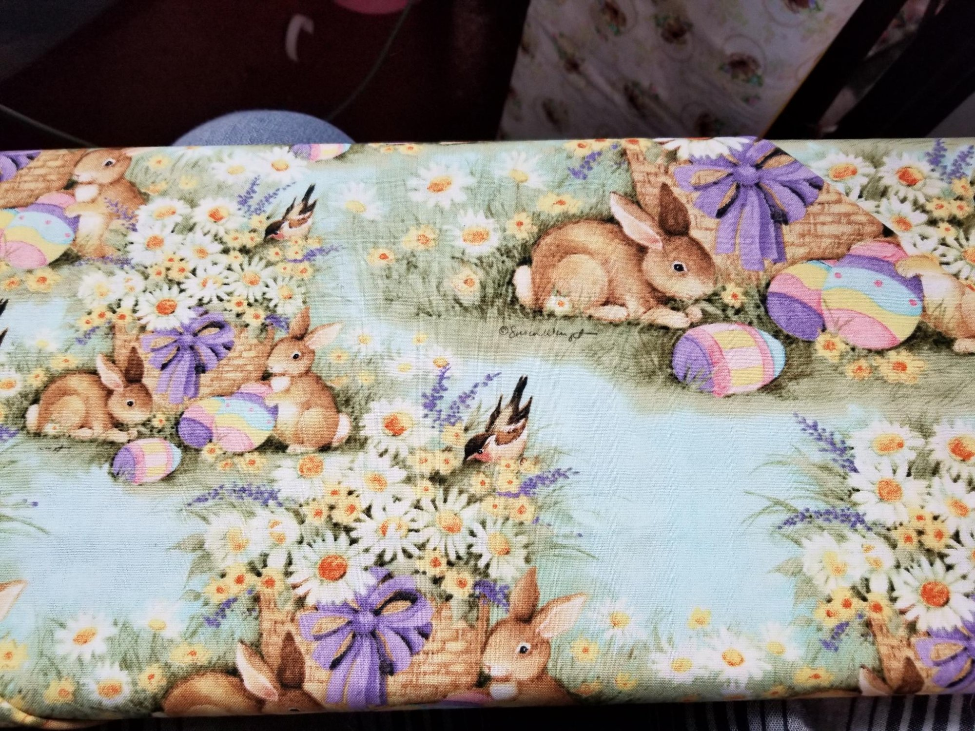Fabric 100% Cotton Rabbits and Easter Eggs