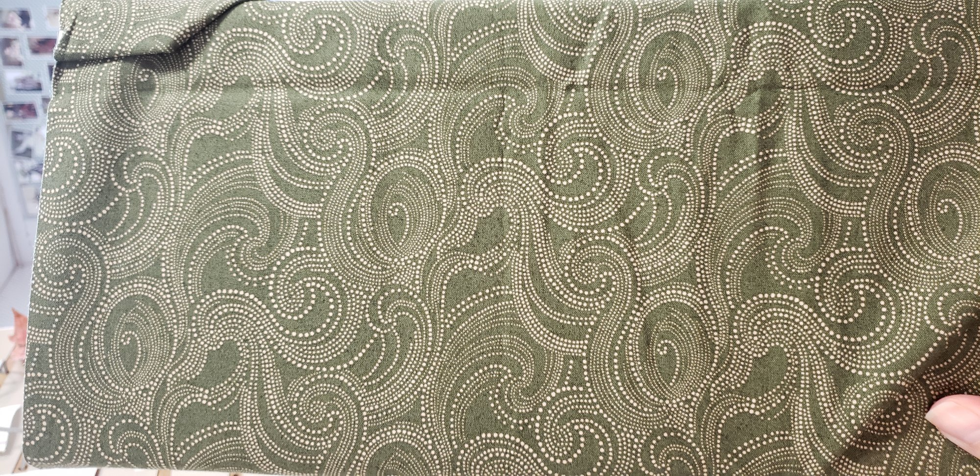 Fabric 100% Cotton - Ivory Swirls with Dark Green Background