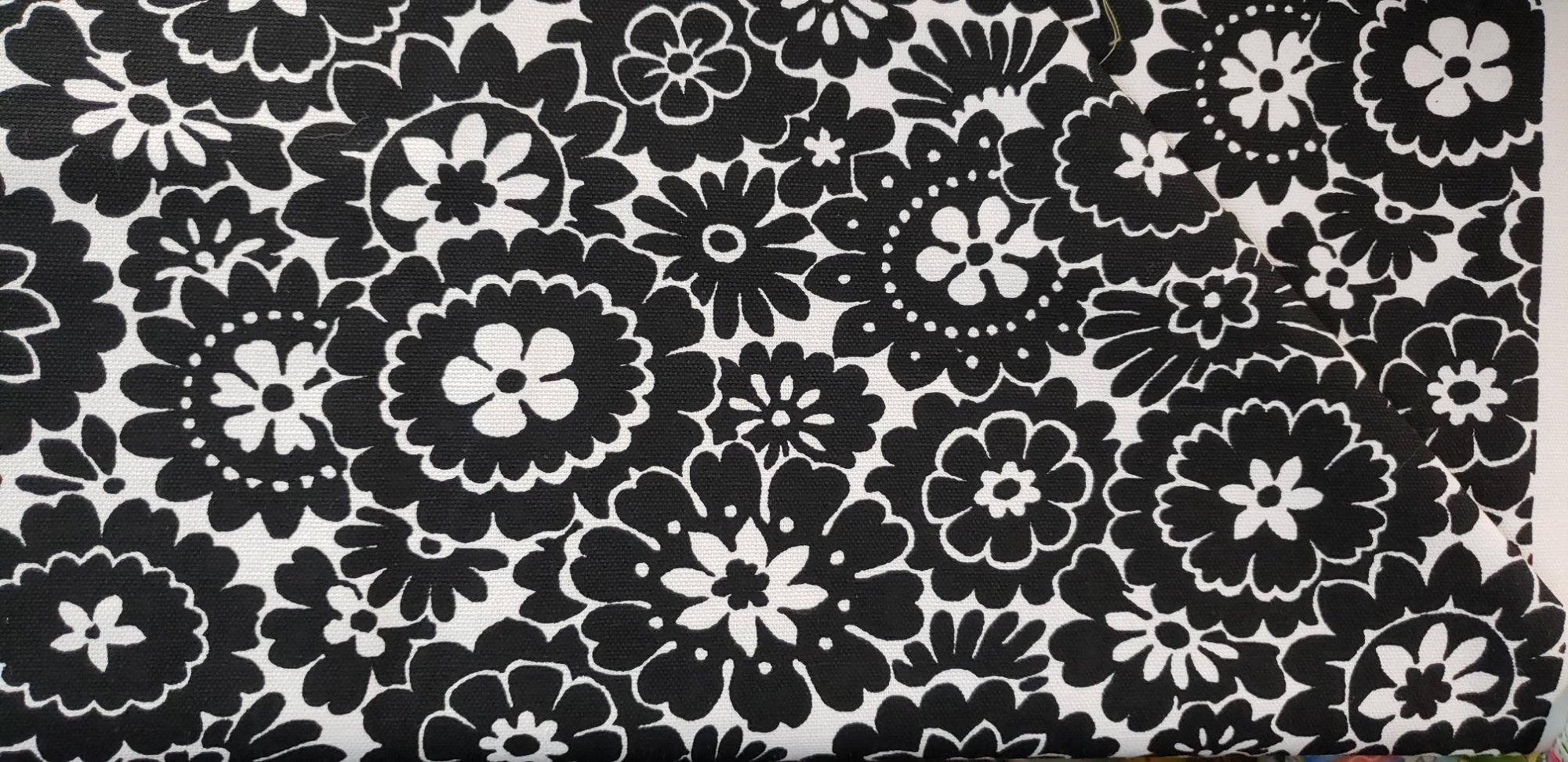 Fabric Canvas Black & White Floral Purse and craft fabric 45 INCH WIDE