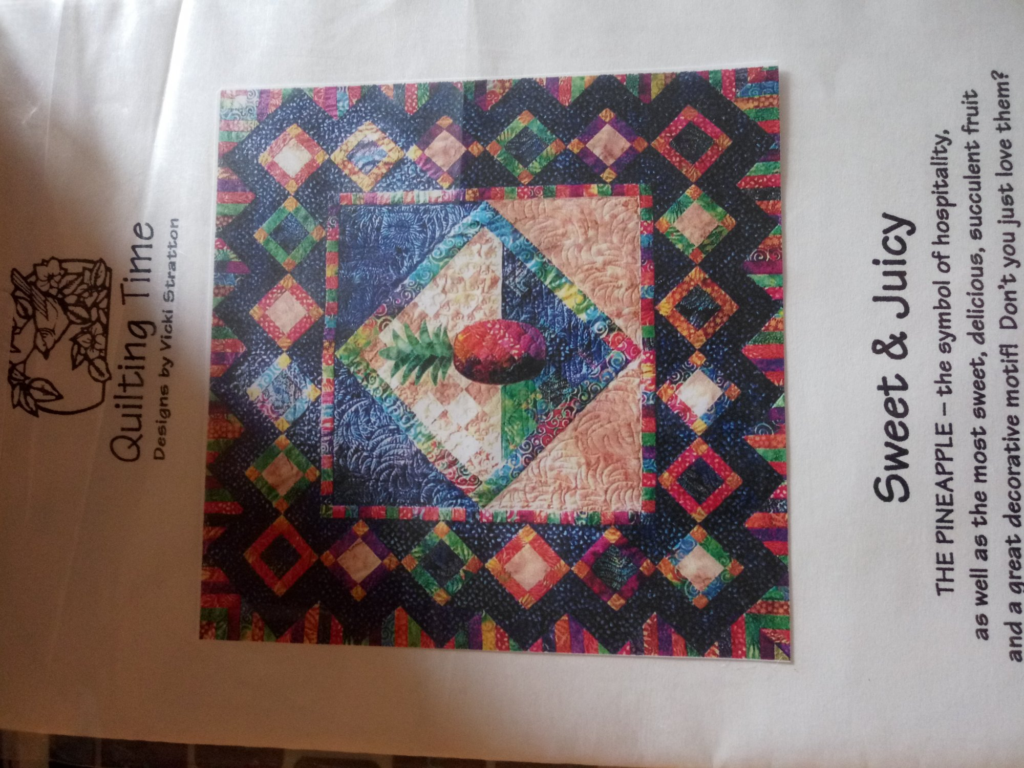 Pattern Quilting time Designs by Vicki Stratton Pineapple Quilt