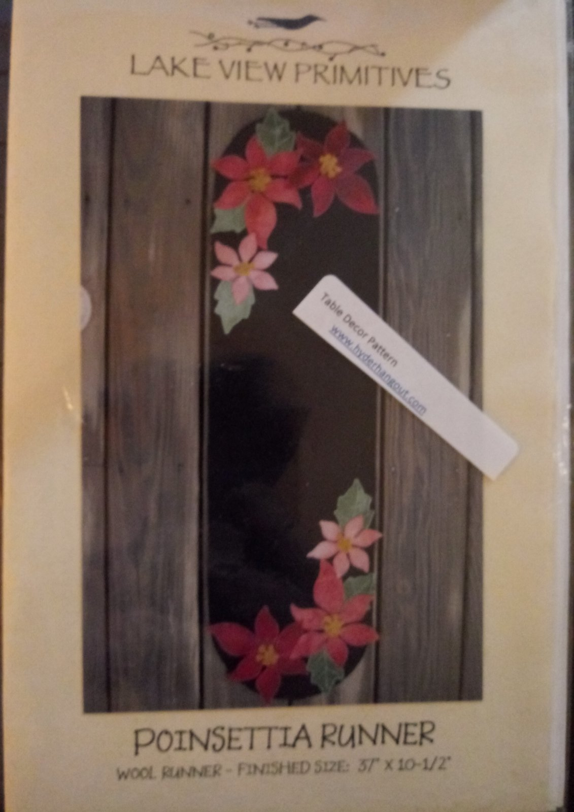 Poinsettia Runner by Lakeview Primitives  Wool Runner 37 x 10 1/2  #463