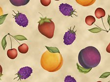 Fruit Basket on Beige by Angela Anderson Quilting Treasures 44/45'' 100% Cotton