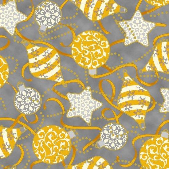 Fabric Cotton Quilting Treasures Studio 8 Celebrate the Season Gray Gold Ornament