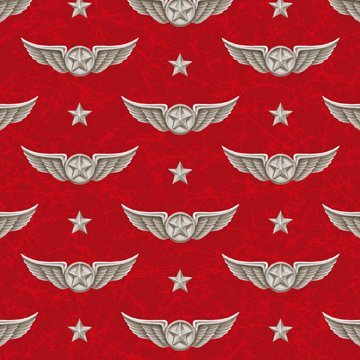 Smithsonian Wingman - Red Pilot Wings 44/45 100% Cotton Quilting Treasures