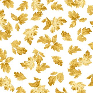 Falling Leaves - White/Gold by Quilting Treasures (24233-s) Cotton Fabric Yardage