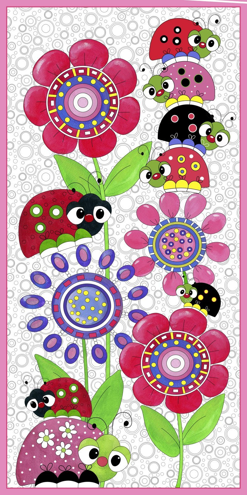 24 inch panel Lazy Little Ladybugs Desiree's Designs Quilting Treasures