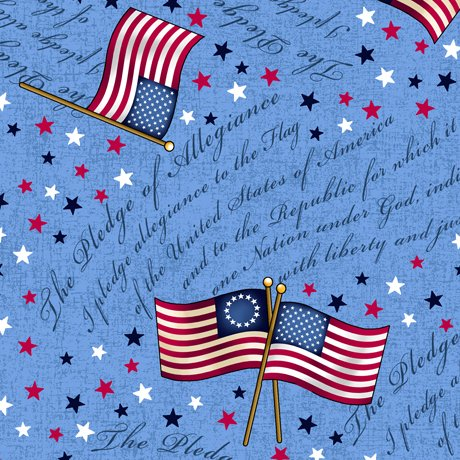 Remnant 21 WOF LONG MAY SHE WAVE FLAG TOSS ON PLEDGE OF ALLEGIANCE  Style # : 24406 -B  Color : BLUE 100% Cotton Quilting Treasures