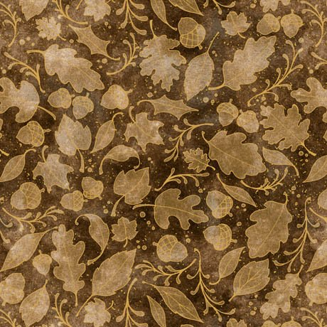 Fabric Cotton Quilting Treasures HARVEST BOUNTY LEAF BLENDER  Light Brown