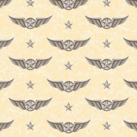 Smithsonian Wingman - Cream Pilot Wings 44/45 100% Cotton Quilting Treasures