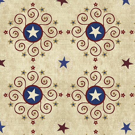 STARS & STRIPES FOREVER STAR MEDALLIONS 43/44'' 100% Cotton Quilting Treasures