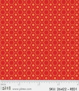 P&B Basically Hugs 100% Cotton - Red Hexies #26422