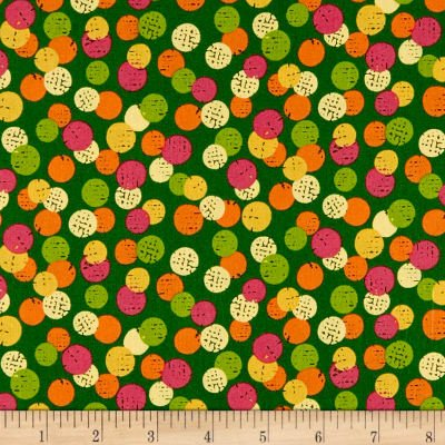 Fabric Cotton June Bee Olivia Dots Green Ink & Arrow