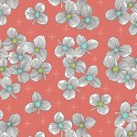 Lexi SPACED FLORAL CORAL 43 100% cotton Joan Hawley of Lazy Girl Designs
