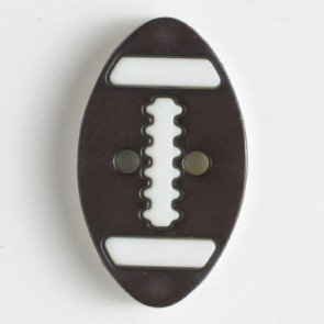 Dill Buttons Novelty Football White and Brown