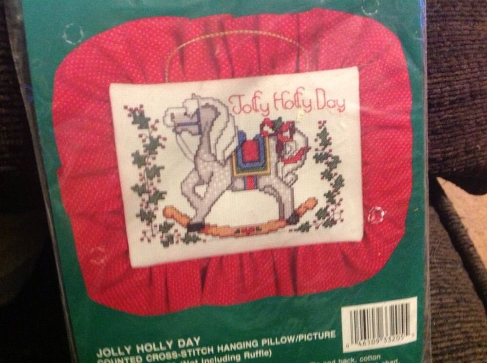 Kit Bucilla Jolly Holly Day Rocking Horse New Cross Stitch Christmas Kit Pillow 1991
