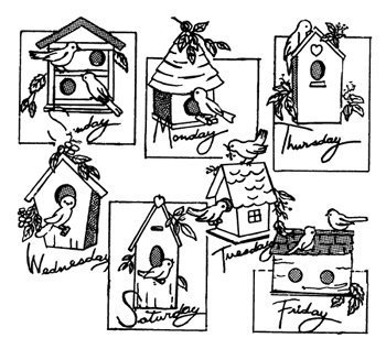 Embroidery Kit Aunt Martha's Birdhouses - Iron On Transfers