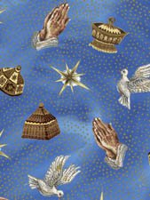 Fabric Cotton Nativity Exclusively Quilters 61274-2 Blue Praying hands