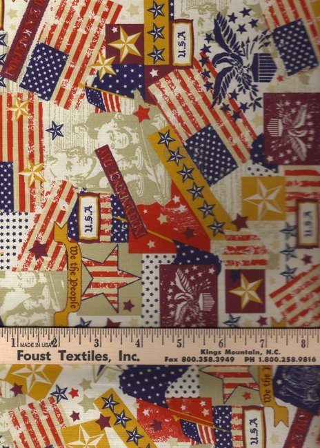 Fabric Cotton Foust-Made in the USA 48484 Antique`