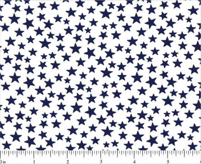 Patriotic Prints  Blue Stars On White Background