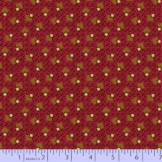 Fabric Cotton Marcus Fabrics  Judy's Album Quilt Red 100% Cotton - 44/45''