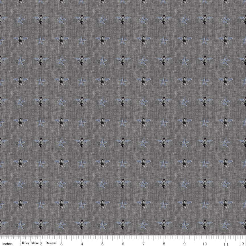 Fabric Cotton Riley Blake Something Blue Bumble Bees on Gray Penny Rose Fabrics by Emily Hayes