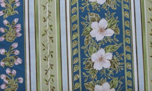 Fat Quarter Cherry Blossom Lane BTR5792-N Flowers and Stripe Fabric Cotton