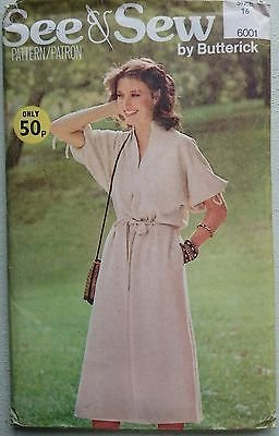 SEE & SEW DRESS PATTERN BUTTERICK 6001 SIZE 16