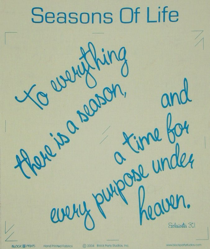 Seasons of Life White with Blue Ink Quilt PRE-PRINTED PANEL Block Party Studios
