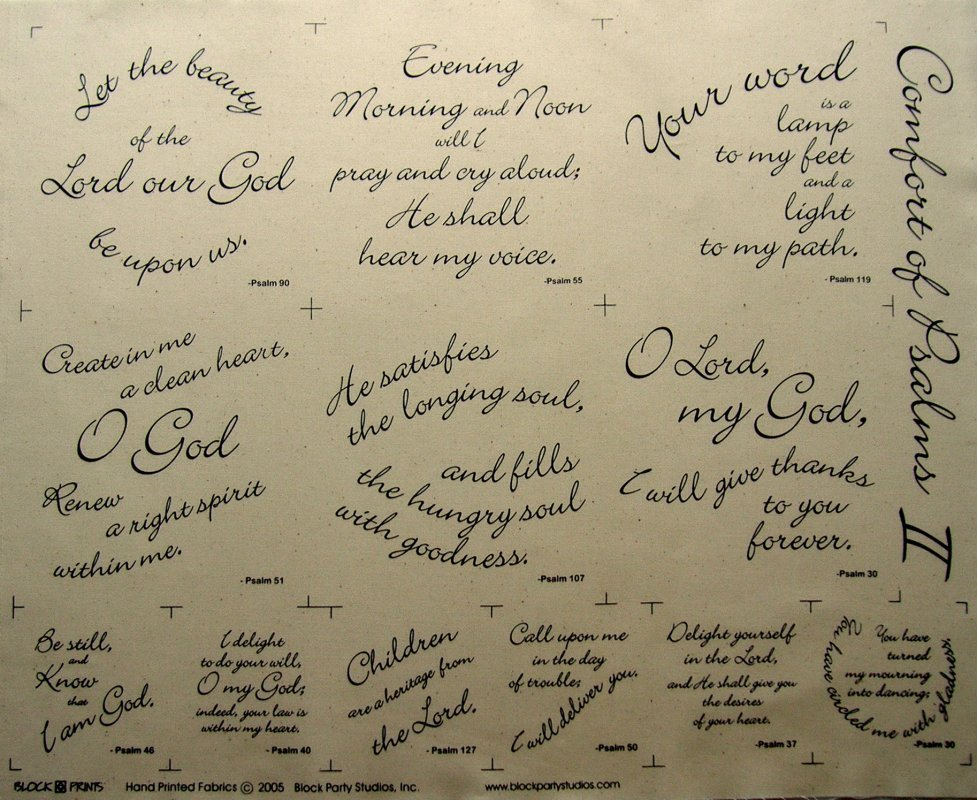 COMFORT OF PSALMS II PRE-PRINTED PANEL Black on White Block Party Studios
