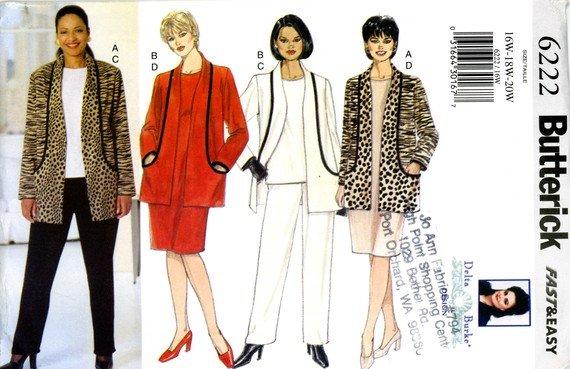 PATTERN Fashion DELTA BURKE BUTTERICK 6222 FAST & EASY SIZES 22-24-26
