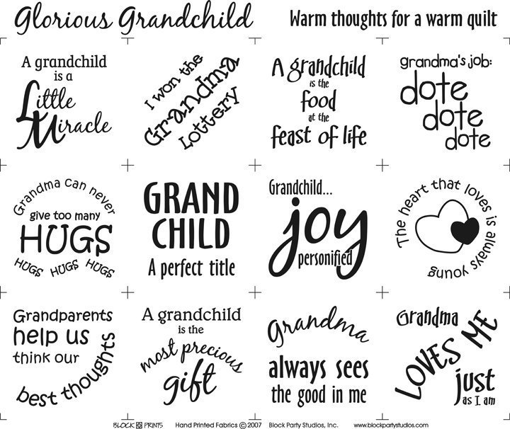 Glorious Grandchild 18in x 20in Panel White With Black Writing Block Party Studios